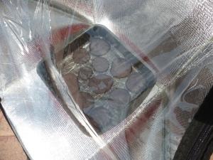 Galletas de algarroba en cocina solar portátil Lar